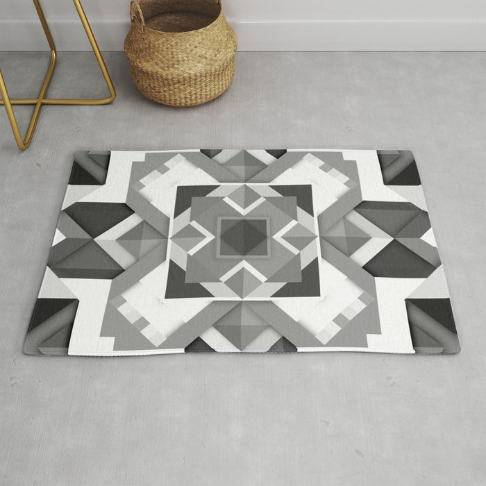 Black And White Geometric Geometry Mandala Diamond Square Pattern Graphic Rug By Aej Design