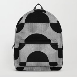Black abstract 60s circles on concrete - Mix & Match with Simplicty of life Backpack