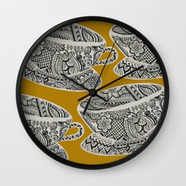 Morning Cuppa! - tea coffee lover zentangle Wall Clock