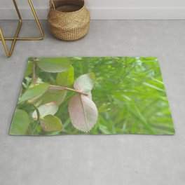 Red Shade & Green Leaves Rug