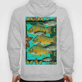 MONARCH BUTTERFLIES OCHER  FISH TURQUOISE BLUE ART Hoody