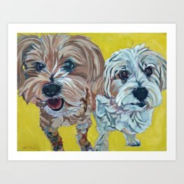 Ollie and Bailey Dog Portrait Art Print