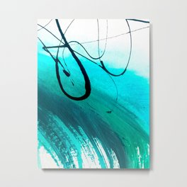 Moving On: an abstract mixed media piece in blue, greens, black and white by Alyssa Hamilton Art Metal Print