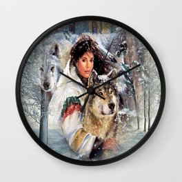 Mountain Woman With Wolfs Wall Clock
