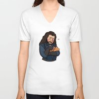 thorin V-neck T-shirts featuring Thorin and Kitten by Hattie Hedgehog