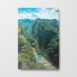 Aerial view of the natural turquoise pools of Semuc Champey, Guatemala Metal Print