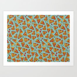 Funny pizza pattern Art Print