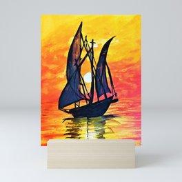 Sailboat in Sunset ocean Acrylic painting Mini Art Print