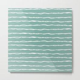 Sketched Messy Lines in Aqua Metal Print