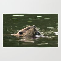 beaver Area & Throw Rugs featuring Beaver Munching by FiveAcesMedia