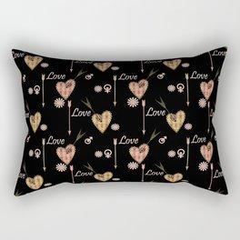 Love . Openwork heart pierced by an arrow . Rectangular Pillow