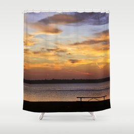 Sitting on the Bench by the Lake Shower Curtain