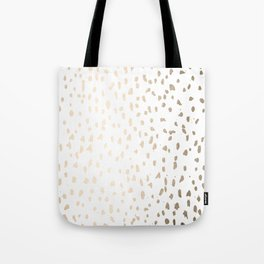 Luxe Gold Painted Polka Dot on White Tote Bag