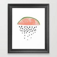 Watermelon raining seeds. Framed Art Print
