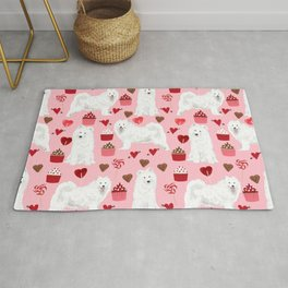 Samoyed valentines day dog portrait cute puppy dogs hearts love valentine for dog person Rug