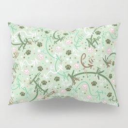 Mint Chip Paw Prints Pillow Sham