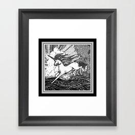 Mystic Running Unicorn In Meadow B&W Drawing Framed Art Print