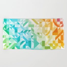 Colorful Geometric Pattern Saturated Rainbow Pattern Design (Red Pink Orange Yellow Green Blue) Beach Towel