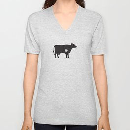 I Love Cows Cute Cattle Bovine Farmer Rancher Black Unisex V-Neck