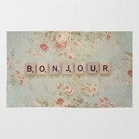 bonjour Area & Throw Rugs featuring Bonjour by Christine Hall