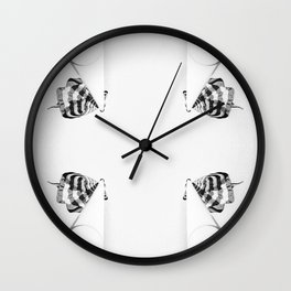 4 flag poles, black and white Wall Clock