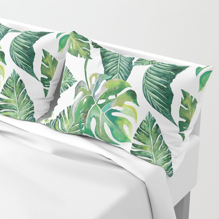 Jungle Leaves, Banana, Monstera #society6 Pillow Sham