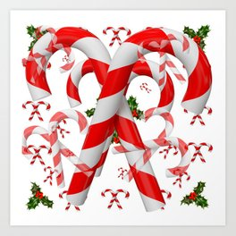 FESTIVE ART RED-WHITE CHRISTMAS CANDY CANES HOLLY BERRIES Art Print