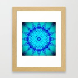 Bright blue turquoise Mandala Design Framed Art Print