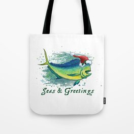"Seas and Greetings ~ ""Mahi Mahi Splash"" by Amber Marine ~ Watercolor ~ (Copyright 2016) Tote Bag"