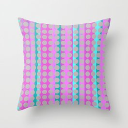 Pink & Aqua Stripes under Taupe Spots Throw Pillow