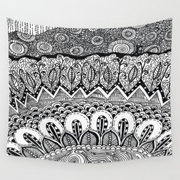 Black and White Doodle Wall Tapestry