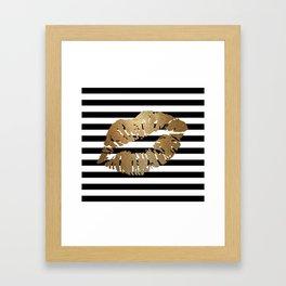Gold Lips 2 Framed Art Print