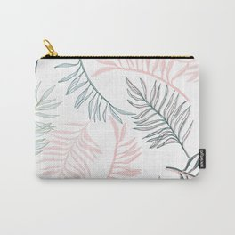 Large Pastel Palm Leaf Line Drawing Pattern - White Carry-All Pouch