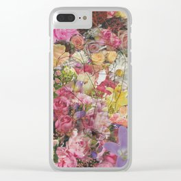 Croissant girl in floral world Clear iPhone Case