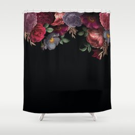 Vintage & Shabby Chic - Night Antique Redoute Roses Frame On Black Shower Curtain