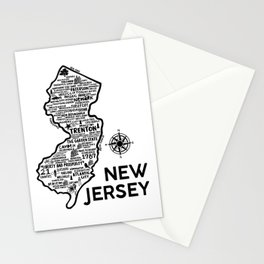 New Jersey Map  Stationery Cards