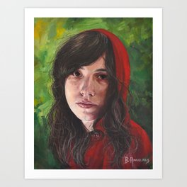 Little Red Riding Hood, oil painting portrait of girl in red with green background Art Print