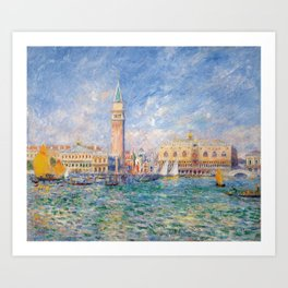 The Palace of the Doge's & St. Mark's Square Venice Italy landscape painting by Pierre Renoir Art Print