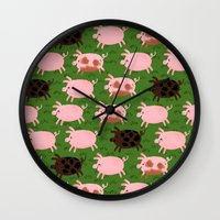 pigs Wall Clocks featuring Pigs by Paper Bicycle