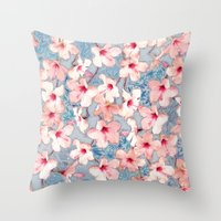 bedding Throw Pillows featuring Shabby Chic Hibiscus Patchwork Pattern in Pink & Blue by micklyn
