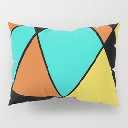 Aqua, Gold, Orange, and Black Geometric Design Pillow Sham