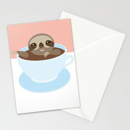 Sloth in a blue cup coffee, tea, Three-toed slot Stationery Cards