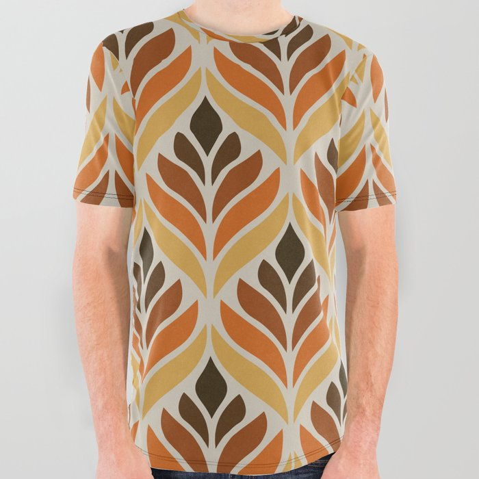 Retro Flower Pattern All Over Graphic Tee