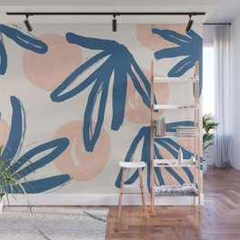 Lovely abstract hand paint art with leaves on pastel background illustration pattern Wall Mural
