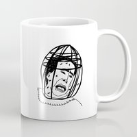 nicolas cage Mugs featuring 100 Portraits of Nicolas Cage by Madelin Woods