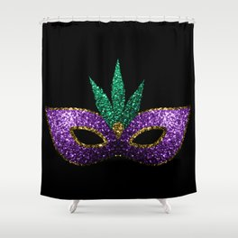 Mardi Gras Mask Purple Green Gold Sparkles Shower Curtain