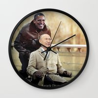 "putin Wall Clocks featuring Putin And Obama in ""Les Intouchables"" by Luigi Tarini"