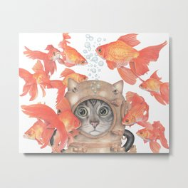 Scuba Cat Among the Fishes Metal Print