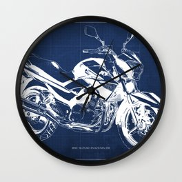 Motorcycle blueprint, 2012 Suzuki Inazuma 250, japanese bike Wall Clock