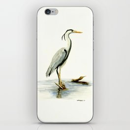Blue Heron - watercolor bird, home decor, nursery wall art iPhone Skin